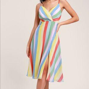 NEW- Mid length stripe dress